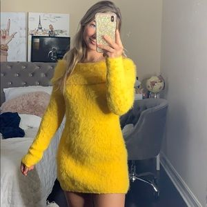 Urban outfitters yellow fuzzy dress